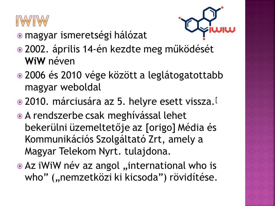  magyar ismeretségi hálózat  2002. április 14-én kezdte meg működését WiW néven  2006 és 2010 vége között a leglátogatottabb magyar weboldal  2010