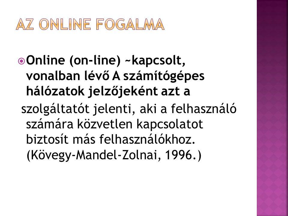  Online (on-line) ~kapcsolt, vonalban lévő A számítógépes hálózatok jelzőjeként azt a szolgáltatót jelenti, aki a felhasználó számára közvetlen kapcs
