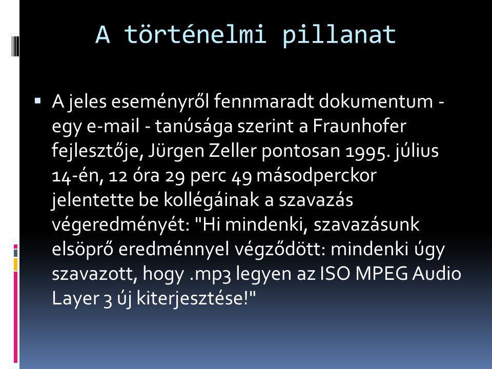 A történelmi pillanat  A jeles eseményről fennmaradt dokumentum - egy e-mail - tanúsága szerint a Fraunhofer fejlesztője, Jürgen Zeller pontosan 1995