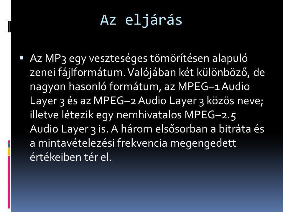 Az eljárás  Az MP3 egy veszteséges tömörítésen alapuló zenei fájlformátum. Valójában két különböző, de nagyon hasonló formátum, az MPEG–1 Audio Layer