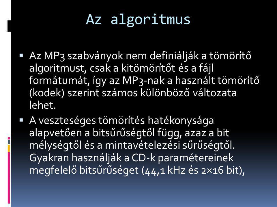 Az algoritmus  Az MP3 szabványok nem definiálják a tömörítő algoritmust, csak a kitömörítőt és a fájl formátumát, így az MP3-nak a használt tömörítő
