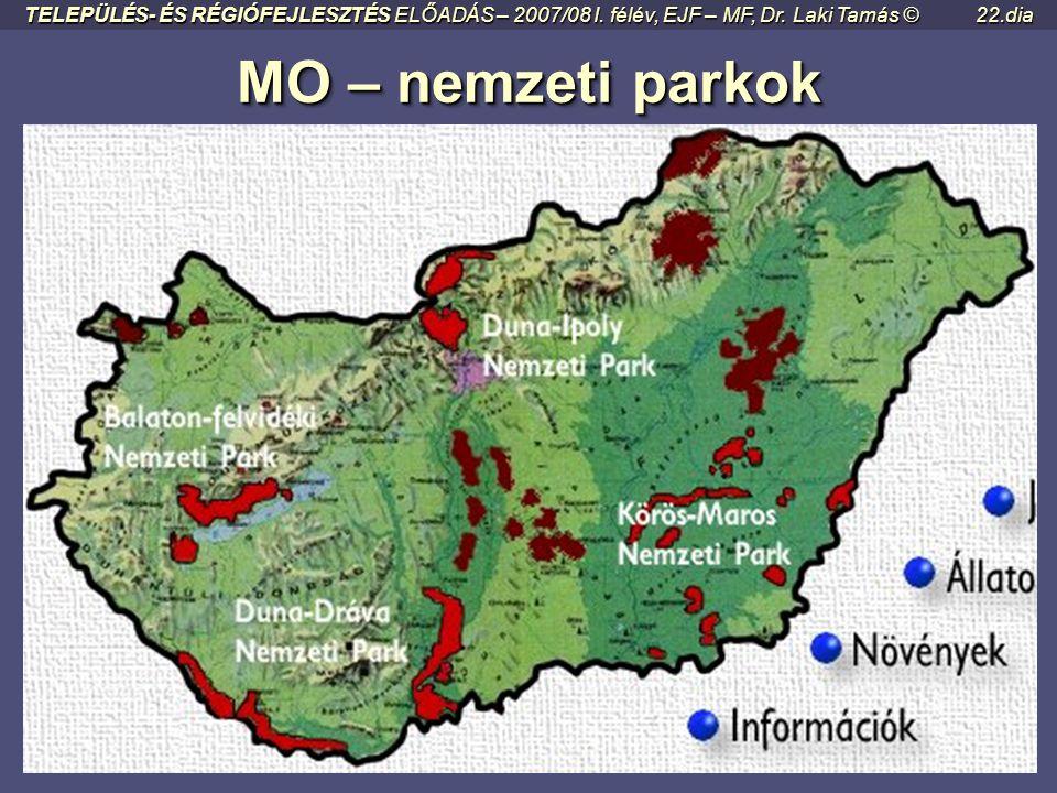 MO – nemzeti parkok MO – nemzeti parkok TELEPÜLÉS- ÉS RÉGIÓFEJLESZTÉS ELŐADÁS – 2007/08 I. félév, EJF – MF, Dr. Laki Tamás ©21.dia