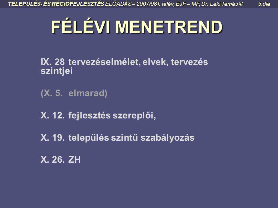 FÉLÉVI MENETREND FÉLÉVI MENETREND IX.28tervezéselmélet, elvek, tervezés szintjei (X.