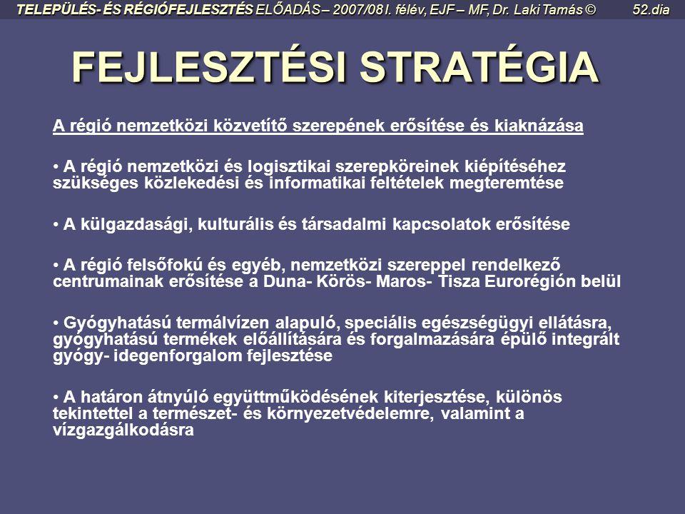 """FEJLESZTÉSI STRATÉGIA FEJLESZTÉSI STRATÉGIA Régiószervezés • """"Régiótudat"""" és régiómarketing formálása • A régió közlekedéshálózati összeköttetéseinek"""