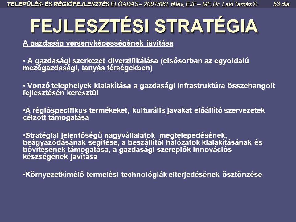 FEJLESZTÉSI STRATÉGIA FEJLESZTÉSI STRATÉGIA A régió nemzetközi közvetítő szerepének erősítése és kiaknázása • A régió nemzetközi és logisztikai szerep