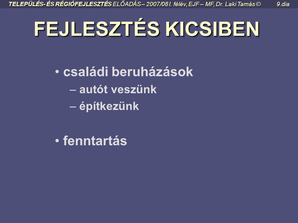 ÁLOM - TERV - MEGVALÓSULÁS ÁLOM - TERV - MEGVALÓSULÁS TELEPÜLÉS- ÉS RÉGIÓFEJLESZTÉS ELŐADÁS – 2007/08 I. félév, EJF – MF, Dr. Laki Tamás ©8.dia • célo