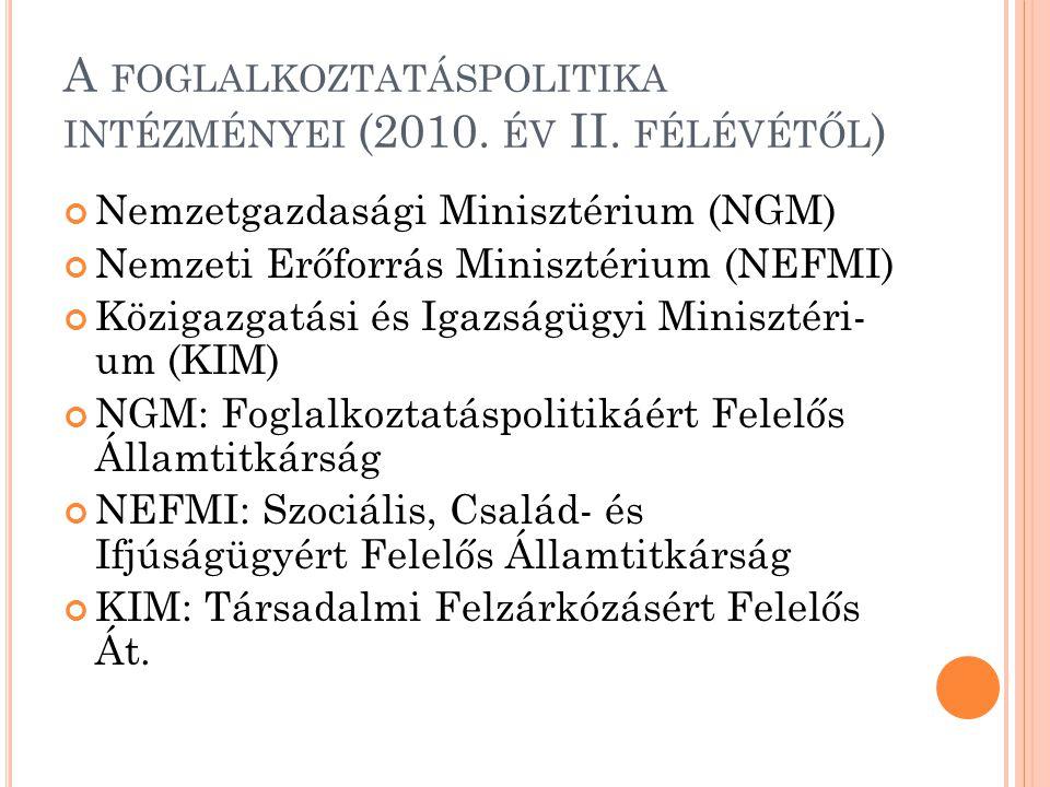 A FOGLALKOZTATÁSPOLITIKA INTÉZMÉNYEI (2010. ÉV II. FÉLÉVÉTŐL ) Nemzetgazdasági Minisztérium (NGM) Nemzeti Erőforrás Minisztérium (NEFMI) Közigazgatási