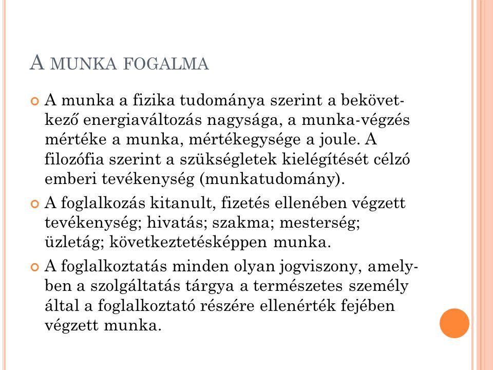FOGLALKOZTATÁSPOLITIKA MAGYARORSZÁGON 1991-2011