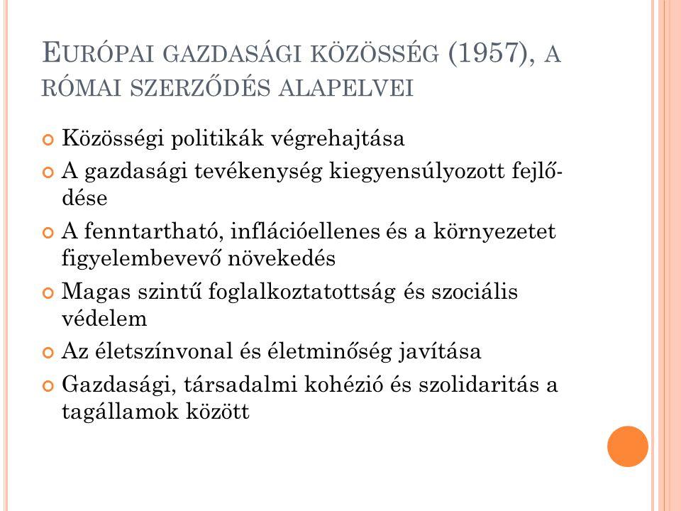 E URÓPAI GAZDASÁGI KÖZÖSSÉG (1957), A RÓMAI SZERZŐDÉS ALAPELVEI Közösségi politikák végrehajtása A gazdasági tevékenység kiegyensúlyozott fejlő- dése