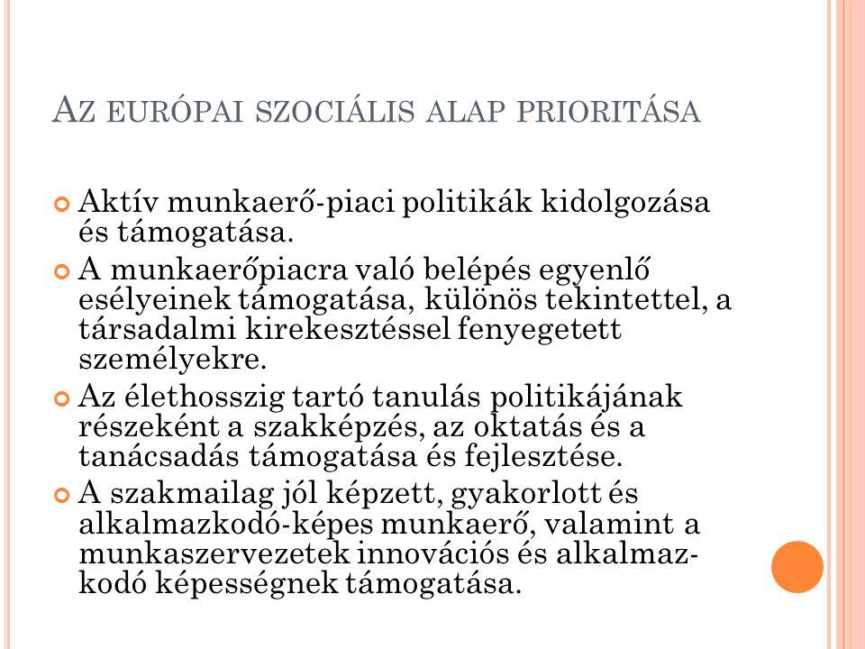 A Z EURÓPAI SZOCIÁLIS ALAP PRIORITÁSA Aktív munkaerő-piaci politikák kidolgozása és támogatása. A munkaerőpiacra való belépés egyenlő esélyeinek támog
