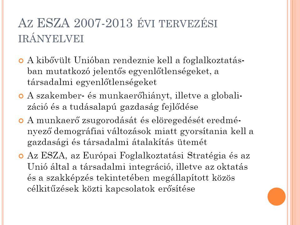 A Z ESZA 2007-2013 ÉVI TERVEZÉSI IRÁNYELVEI A kibővült Unióban rendeznie kell a foglalkoztatás- ban mutatkozó jelentős egyenlőtlenségeket, a társadalm