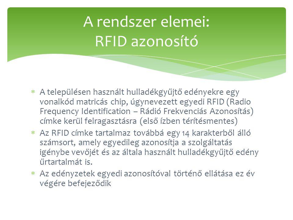  A településen használt hulladékgyűjtő edényekre egy vonalkód matricás chip, úgynevezett egyedi RFID (Radio Frequency Identification – Rádió Frekvenciás Azonosítás) címke kerül felragasztásra (első ízben térítésmentes)  Az RFID címke tartalmaz továbbá egy 14 karakterből álló számsort, amely egyedileg azonosítja a szolgáltatás igénybe vevőjét és az általa használt hulladékgyűjtő edény űrtartalmát is.