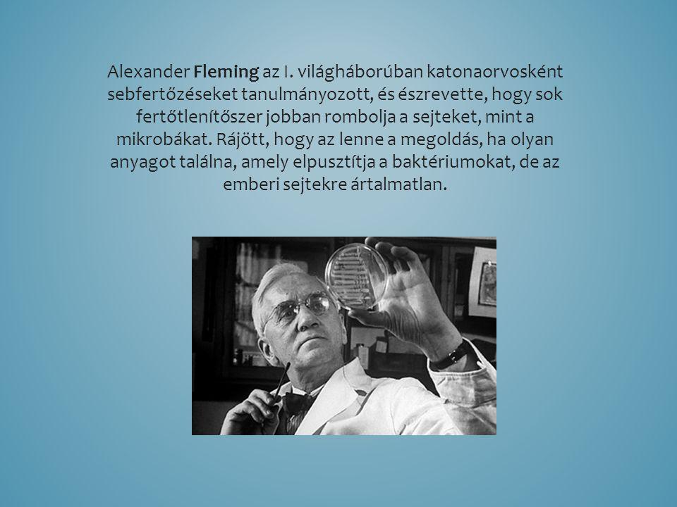 Alexander Fleming az I. világháborúban katonaorvosként sebfertőzéseket tanulmányozott, és észrevette, hogy sok fertőtlenítőszer jobban rombolja a sejt