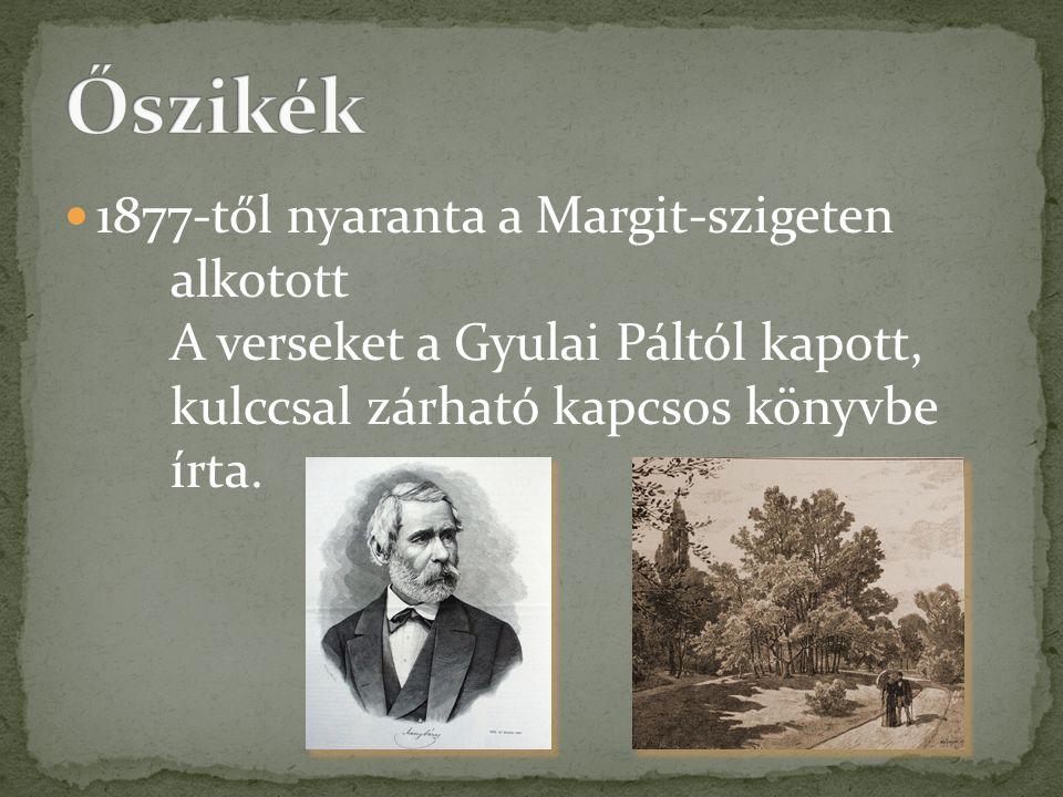  1877-től nyaranta a Margit-szigeten alkotott A verseket a Gyulai Páltól kapott, kulccsal zárható kapcsos könyvbe írta.