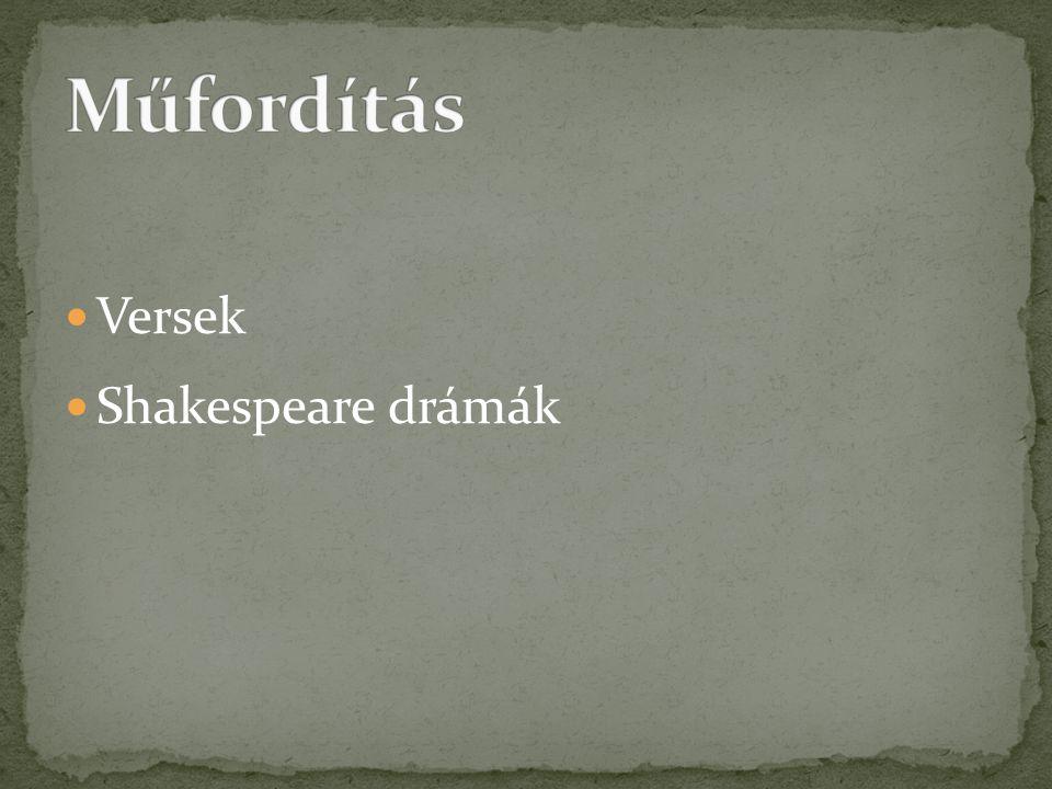  Versek  Shakespeare drámák