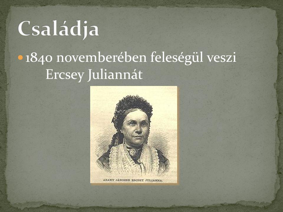 1840 novemberében feleségül veszi Ercsey Juliannát