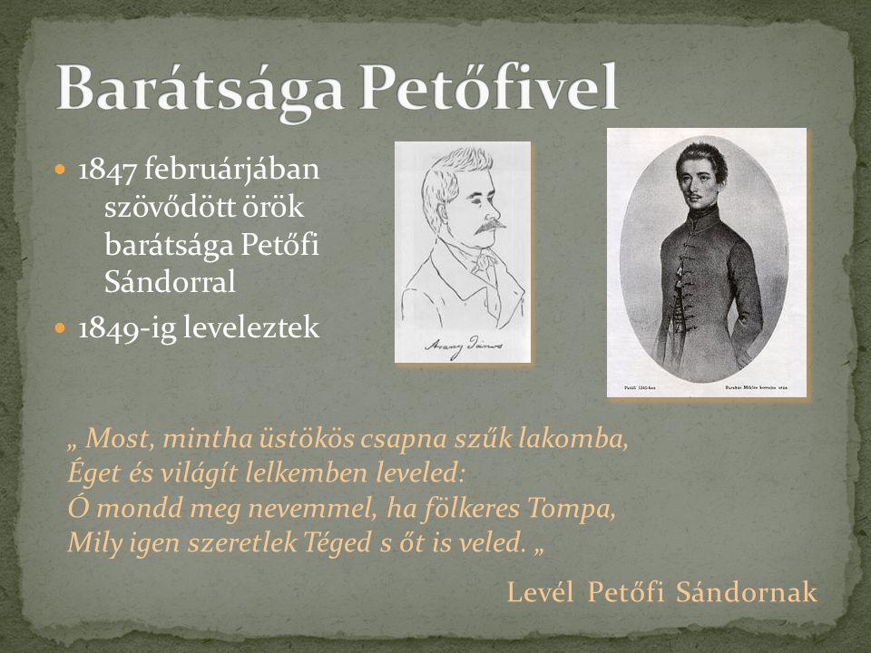 """ 1847 februárjában szövődött örök barátsága Petőfi Sándorral  1849-ig leveleztek """" Most, mintha üstökös csapna szűk lakomba, Éget és világít lelkemb"""