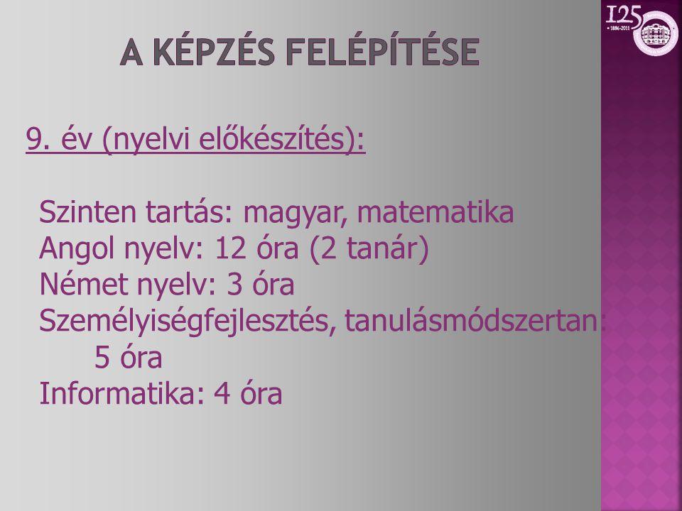 9. év (nyelvi előkészítés): Szinten tartás: magyar, matematika Angol nyelv: 12 óra (2 tanár) Német nyelv: 3 óra Személyiségfejlesztés, tanulásmódszert