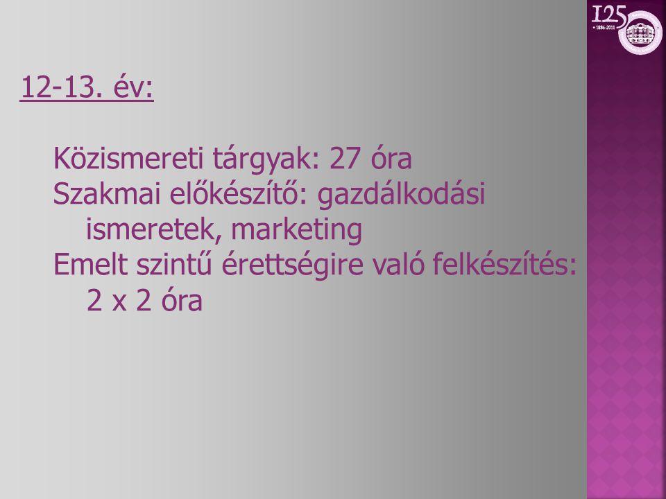12-13. év: Közismereti tárgyak: 27 óra Szakmai előkészítő: gazdálkodási ismeretek, marketing Emelt szintű érettségire való felkészítés: 2 x 2 óra