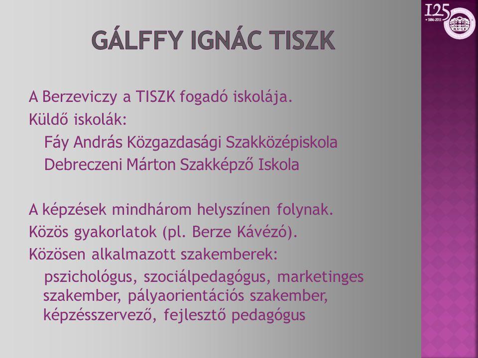 A Berzeviczy a TISZK fogadó iskolája. Küldő iskolák: Fáy András Közgazdasági Szakközépiskola Debreczeni Márton Szakképző Iskola A képzések mindhárom h