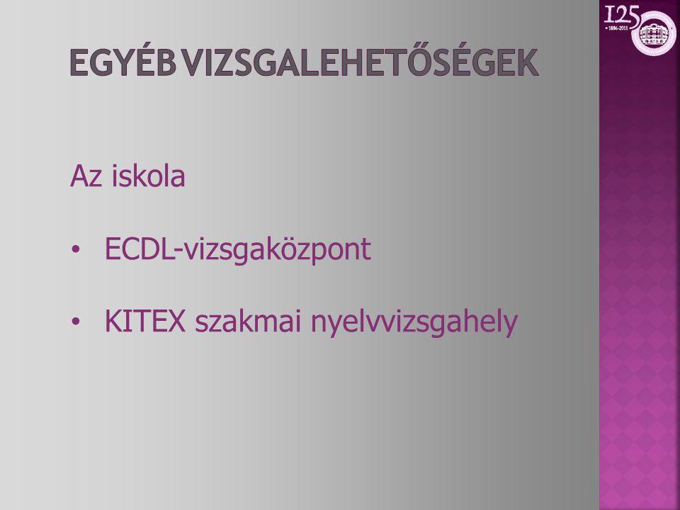 Az iskola • ECDL-vizsgaközpont • KITEX szakmai nyelvvizsgahely