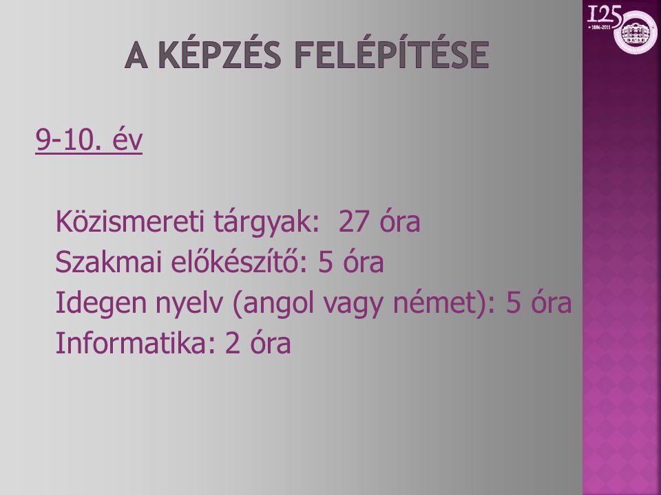 9-10. év Közismereti tárgyak: 27 óra Szakmai előkészítő: 5 óra Idegen nyelv (angol vagy német): 5 óra Informatika: 2 óra