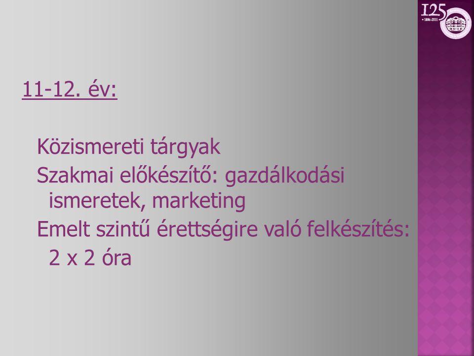 11-12. év: Közismereti tárgyak Szakmai előkészítő: gazdálkodási ismeretek, marketing Emelt szintű érettségire való felkészítés: 2 x 2 óra