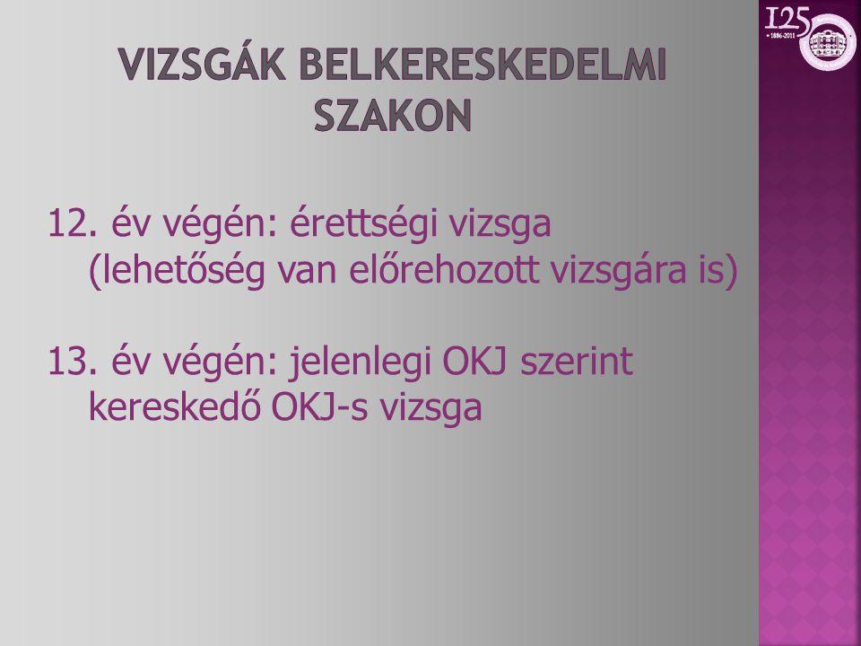12. év végén: érettségi vizsga (lehetőség van előrehozott vizsgára is) 13. év végén: jelenlegi OKJ szerint kereskedő OKJ-s vizsga