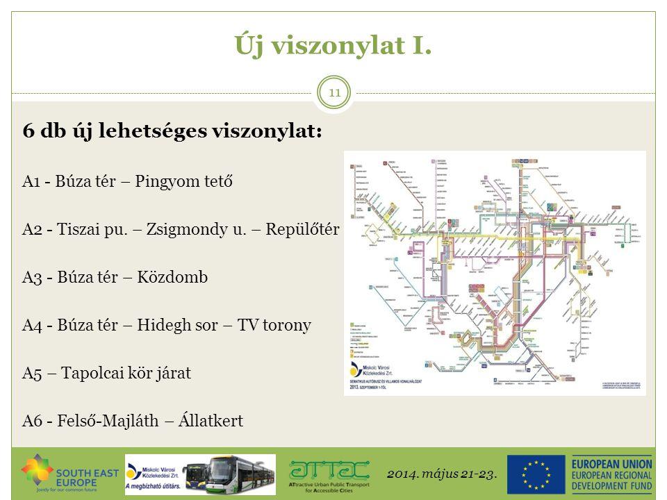 2014. május 21-23. 11 Új viszonylat I. 6 db új lehetséges viszonylat: A1 - Búza tér – Pingyom tető A2 - Tiszai pu. – Zsigmondy u. – Repülőtér A3 - Búz