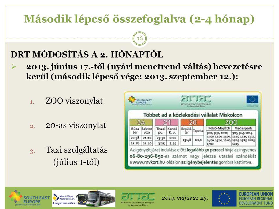 2014. május 21-23. 16 Második lépcső összefoglalva (2-4 hónap) DRT MÓDOSÍTÁS A 2. HÓNAPTÓL  2013. június 17.-től (nyári menetrend váltás) bevezetésre