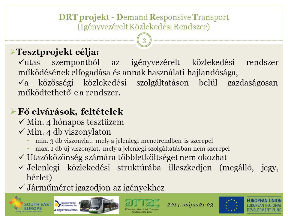 2014. május 21-23. 3 DRT projekt - Demand Responsive Transport (Igényvezérelt Közlekedési Rendszer)  Tesztprojekt célja:  utas szempontból az igényv