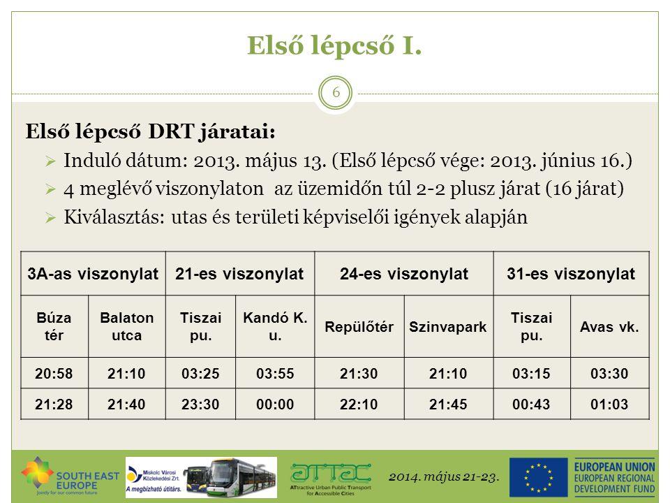 2014. május 21-23. 6 Első lépcső I. Első lépcső DRT járatai:  Induló dátum: 2013. május 13. (Első lépcső vége: 2013. június 16.)  4 meglévő viszonyl