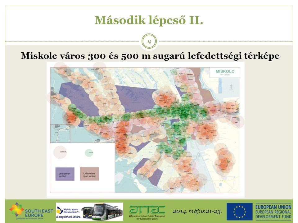 2014. május 21-23. 9 Második lépcső II. Miskolc város 300 és 500 m sugarú lefedettségi térképe