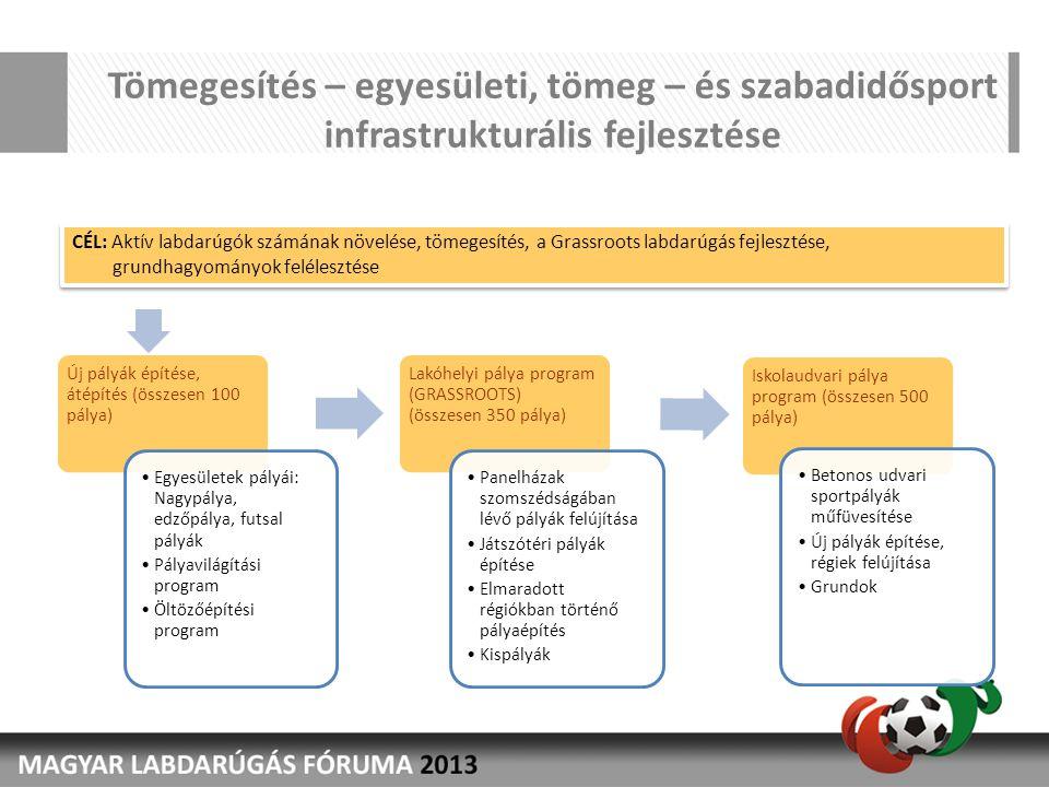 Tömegesítés – egyesületi, tömeg – és szabadidősport infrastrukturális fejlesztése Új pályák építése, átépítés (összesen 100 pálya) •Egyesületek pályái