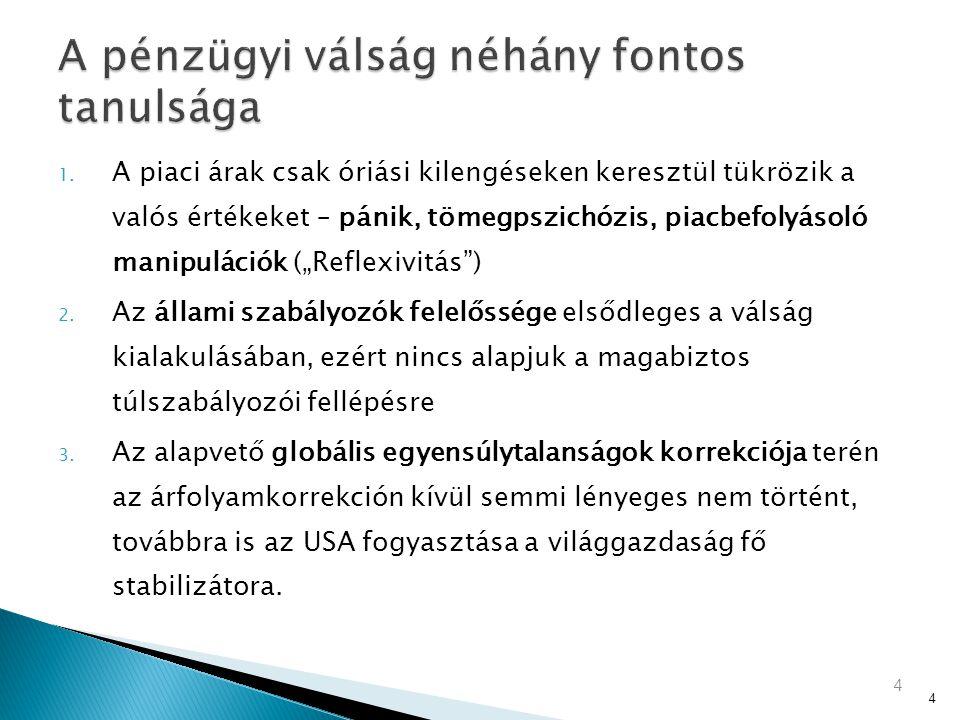  Eurozóna úrrá lesz bizalmi válságán (pénzügyi mentőcsomag, új fiskális szabályok)  EUR leértékelődése segíteni fogja az EU (német) export jelentős fellendülését  A bankrendszert nem fogják esztelen pro-ciklikus szabályokkal gúzsbakötni még a fellendülés megkezdése előtt, hanem hagyják hogy betöltse funkcióját  Folytatódni fog a magyar fiskális stabilizáció  A magyar kormányzati gazdaságpolitika fókuszában a gazdasági szereplők versenyképességének javítása lesz: ◦ Egyszerűbb adózás és alacsonyabb adókulcsok a munkajövedelmekre ◦ Dereguláció, bürokratikus kötöttségek csökkentése, szabályok egyszerűsítése ◦ Alapvető állami feladatok hatékony végzése (pl.