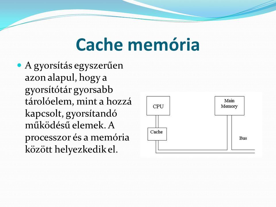 Cache memória AA gyorsítás egyszerűen azon alapul, hogy a gyorsítótár gyorsabb tárolóelem, mint a hozzá kapcsolt, gyorsítandó működésű elemek. A pro