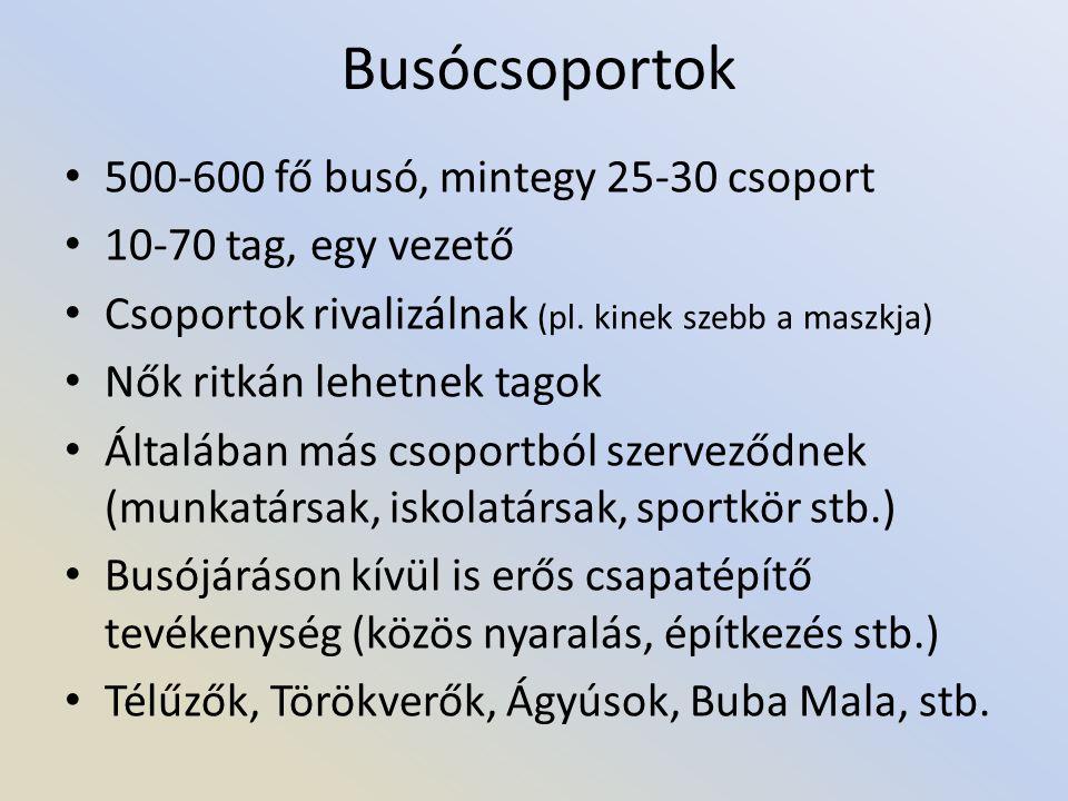 Busócsoportok • 500-600 fő busó, mintegy 25-30 csoport • 10-70 tag, egy vezető • Csoportok rivalizálnak (pl.