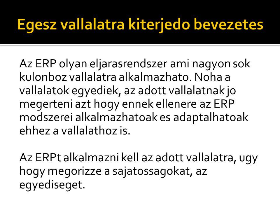 Az ERP olyan eljarasrendszer ami nagyon sok kulonboz vallalatra alkalmazhato. Noha a vallalatok egyediek, az adott vallalatnak jo megerteni azt hogy e