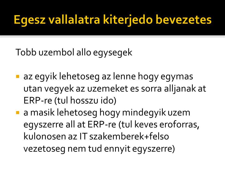 Tobb uzembol allo egysegek  az egyik lehetoseg az lenne hogy egymas utan vegyek az uzemeket es sorra alljanak at ERP-re (tul hosszu ido)  a masik lehetoseg hogy mindegyik uzem egyszerre all at ERP-re (tul keves eroforras, kulonosen az IT szakemberek+felso vezetoseg nem tud ennyit egyszerre)