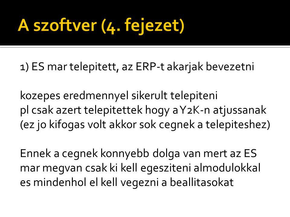 1) ES mar telepitett, az ERP-t akarjak bevezetni kozepes eredmennyel sikerult telepiteni pl csak azert telepitettek hogy a Y2K-n atjussanak (ez jo kifogas volt akkor sok cegnek a telepiteshez) Ennek a cegnek konnyebb dolga van mert az ES mar megvan csak ki kell egesziteni almodulokkal es mindenhol el kell vegezni a beallitasokat