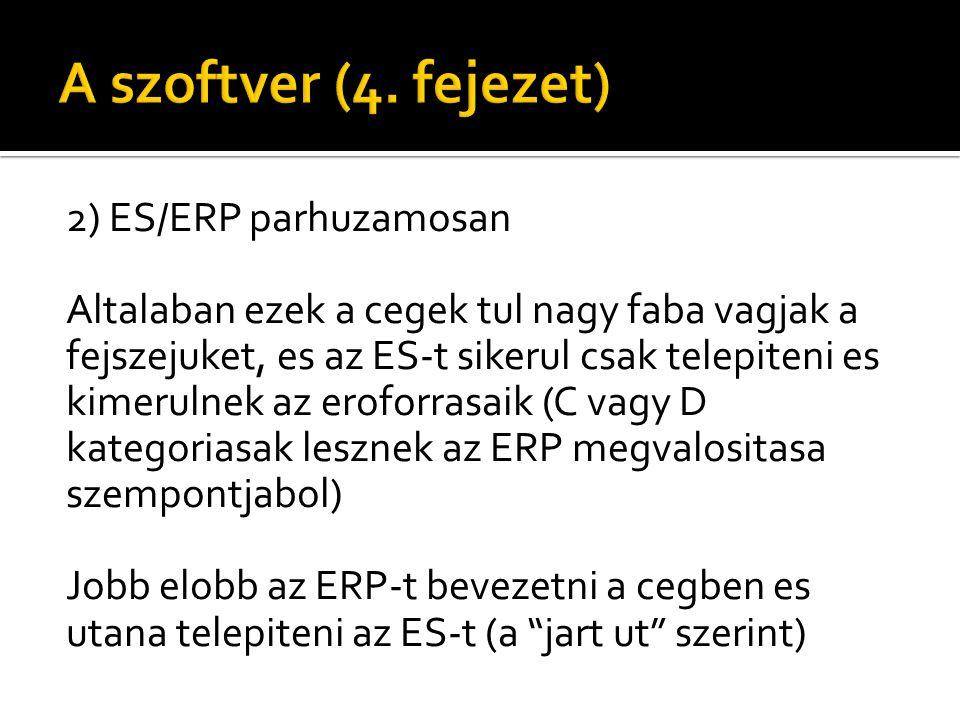 2) ES/ERP parhuzamosan Altalaban ezek a cegek tul nagy faba vagjak a fejszejuket, es az ES-t sikerul csak telepiteni es kimerulnek az eroforrasaik (C vagy D kategoriasak lesznek az ERP megvalositasa szempontjabol) Jobb elobb az ERP-t bevezetni a cegben es utana telepiteni az ES-t (a jart ut szerint)