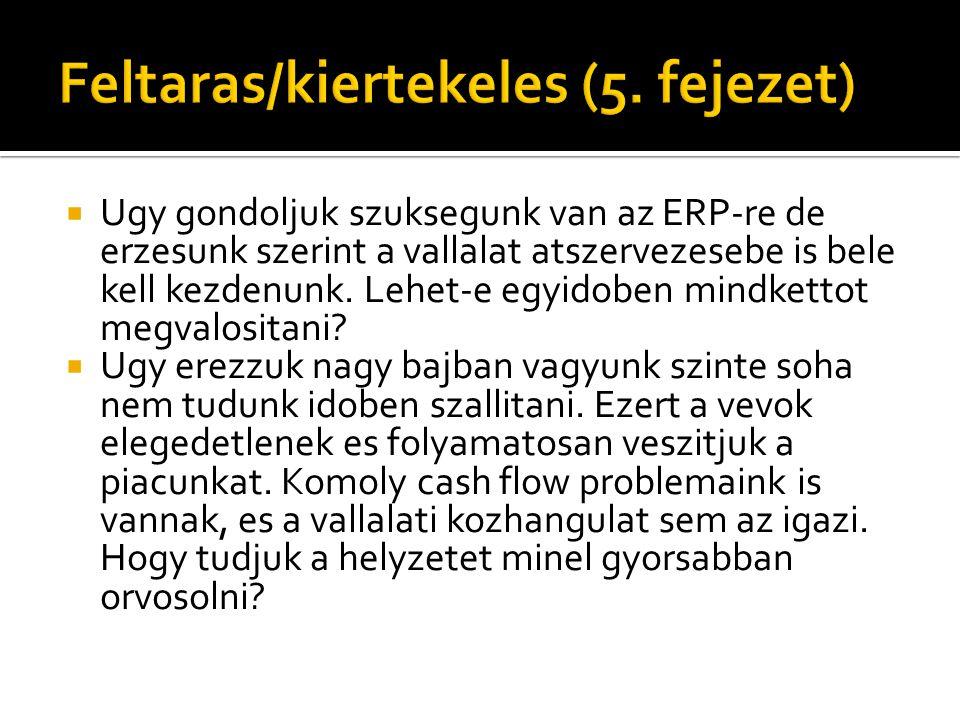  Ugy gondoljuk szuksegunk van az ERP-re de erzesunk szerint a vallalat atszervezesebe is bele kell kezdenunk.