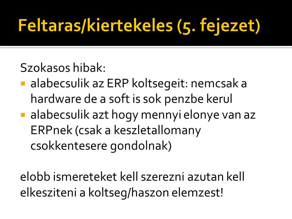 Szokasos hibak:  alabecsulik az ERP koltsegeit: nemcsak a hardware de a soft is sok penzbe kerul  alabecsulik azt hogy mennyi elonye van az ERPnek (