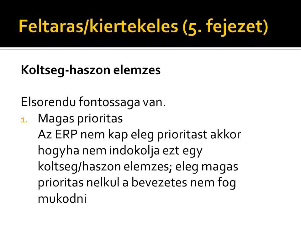 Koltseg-haszon elemzes Elsorendu fontossaga van. 1. Magas prioritas Az ERP nem kap eleg prioritast akkor hogyha nem indokolja ezt egy koltseg/haszon e