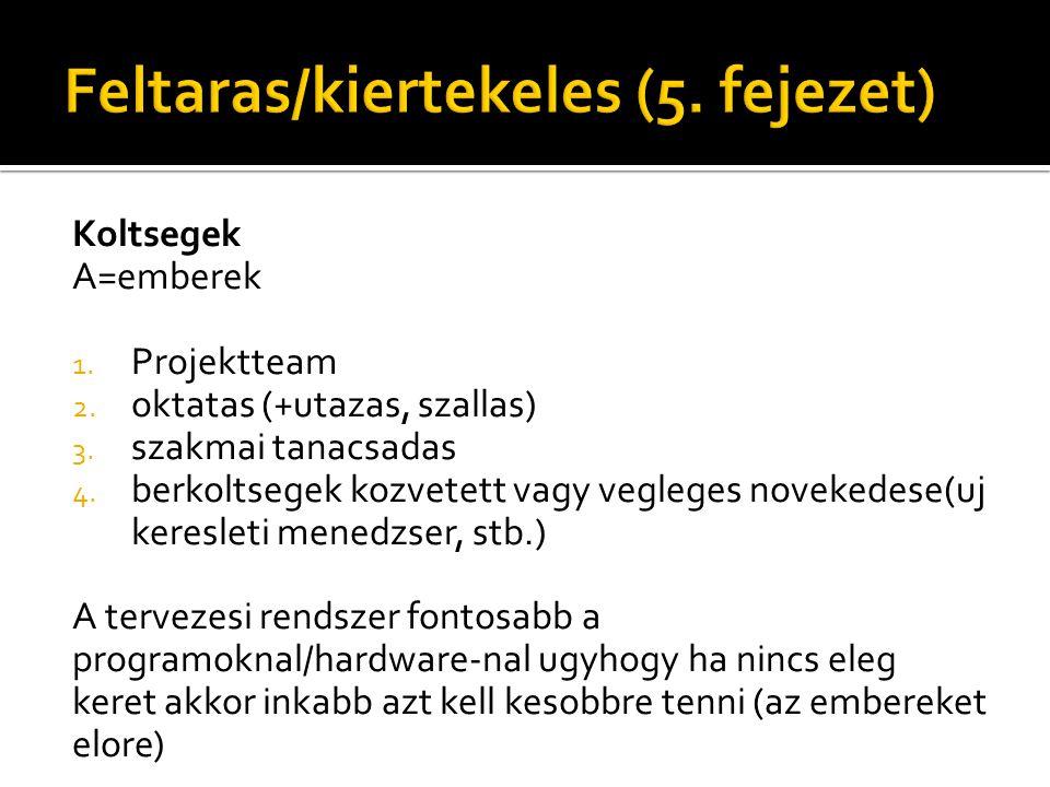 Koltsegek A=emberek 1. Projektteam 2. oktatas (+utazas, szallas) 3.