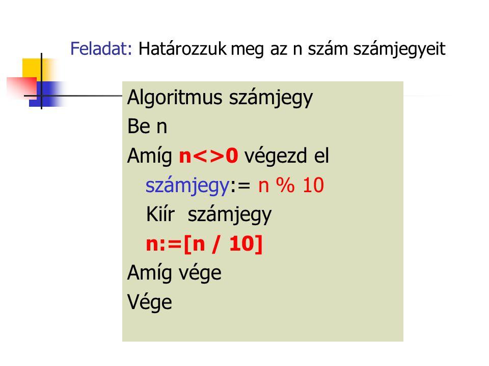 Feladat: Határozzuk meg az n szám számjegyeit Algoritmus számjegy Be n Amíg n<>0 végezd el számjegy:= n % 10 Kiír számjegy n:=[n / 10] Amíg vége Vége