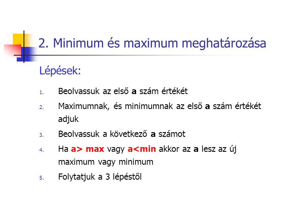 2.Minimum és maximum meghatározása Lépések: 1. Beolvassuk az első a szám értékét 2.
