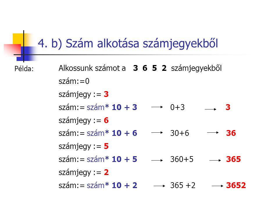 4. b) Szám alkotása számjegyekből Alkossunk számot a 3 6 5 2 számjegyekből szám:=0 számjegy := 3 szám:= szám* 10 + 3 0+3 3 számjegy := 6 szám:= szám*