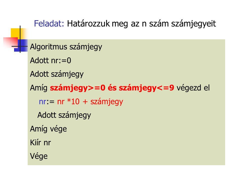 Feladat: Határozzuk meg az n szám számjegyeit Algoritmus számjegy Adott nr:=0 Adott számjegy Amíg számjegy>=0 és számjegy<=9 végezd el nr:= nr *10 + s