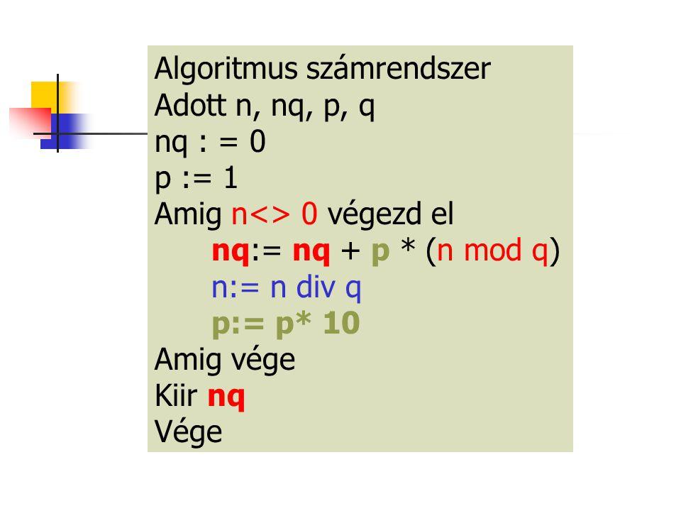 Algoritmus számrendszer Adott n, nq, p, q nq : = 0 p := 1 Amig n<> 0 végezd el nq:= nq + p * (n mod q) n:= n div q p:= p* 10 Amig vége Kiir nq Vége
